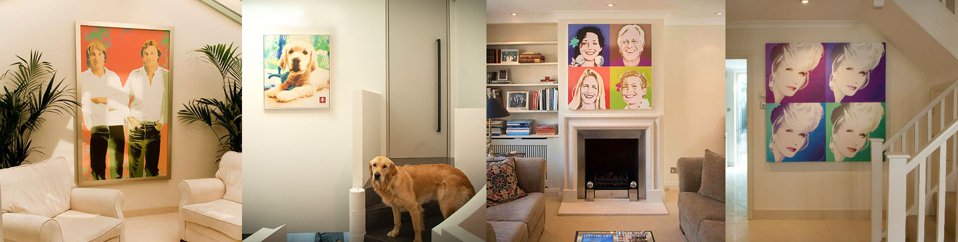 Framed portraits in clients homes