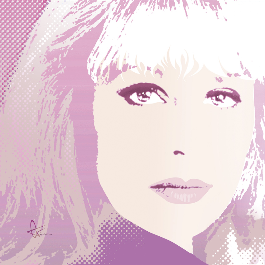 Popart portrait of Joanna Lumley