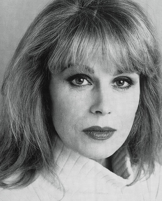 Black and white photograph of Joanna Lumley